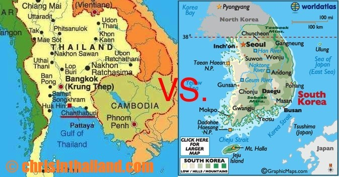 South Korea vs. Thailand – an 11-point comparison